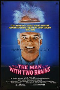 4g599 MAN WITH TWO BRAINS 1sh '83 wacky world famous surgeon Steve Martin performs brain surgery!