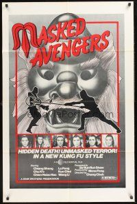 4g610 MASKED AVENGERS 1sh '82 Cheh Chang's Cha Shou, martial arts action in new Kung Fu style!