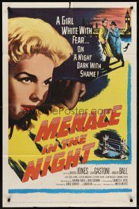 4g615 MENACE IN THE NIGHT 1sh '58 a girl white with fear on a night dark with shame!