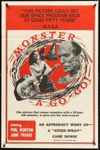 4g633 MONSTER A GO-GO 1sh '65 Herschell G Lewis, wild images from bad sci-fi horror!
