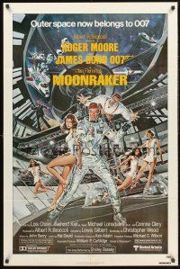 4g635 MOONRAKER 1sh '79 art of Roger Moore as James Bond & sexy babes by Gouzee!