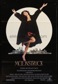 4g636 MOONSTRUCK 1sh '87 Nicholas Cage, Olympia Dukakis, Cher in front of NYC skyline!
