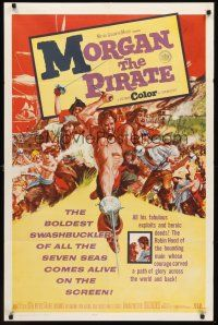 4g637 MORGAN THE PIRATE int'l 1sh '61 Morgan il pirate, cool art of barechested Steve Reeves!
