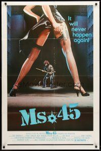 4g640 MS. .45 1sh '81 Abel Ferrara cult classic, great image of sexy girl's legs with gun!