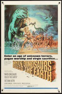 4g966 WHEN DINOSAURS RULED THE EARTH 1sh '71 Hammer, artwork of sexy cavewoman Victoria Vetri!