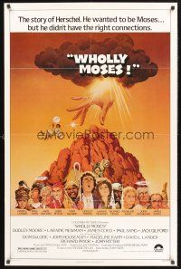 4g973 WHOLLY MOSES 1sh '80 great Jack Rickard art, the story of Herschel the Moses wannabe!