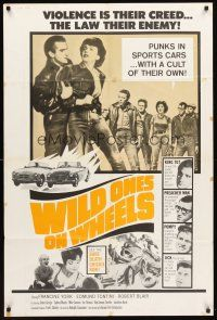 4g977 WILD ONES ON WHEELS 1sh R67 Francine York, Edmund Tontini, young rebels!