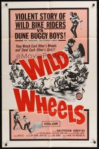 4g979 WILD WHEELS 1sh '69 teen rebels who wreck each other's wheels & steal each other's girls!