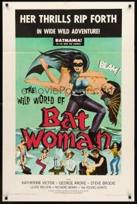 4g980 WILD WORLD OF BATWOMAN 1sh '66 cool artwork of sexy female super hero by J. Syphers!
