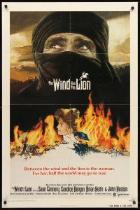 4g983 WIND & THE LION 1sh '75 art of Sean Connery in keffiyeh, Candice Bergen, John Milius!