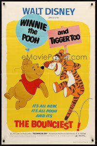4g984 WINNIE THE POOH & TIGGER TOO 1sh '74 Walt Disney, characters created by A.A. Milne!