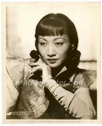 4h064 ANNA MAY WONG 8x10 still '39 great close up of the Asian actress wearing cool silk outfit!