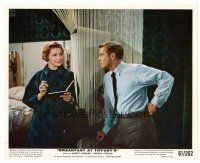 4h013 BREAKFAST AT TIFFANY'S color 8x10 still '61 close up of George Peppard & Patricia Neal!