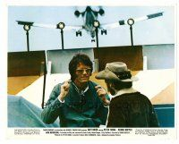 4h016 EASY RIDER color 8x10 still '69 Peter Fonda & Dennis Hopper at airport with plane flying over!