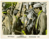 4h019 FLAMING STAR color 8x10 still '60 c/u of cowboy Elvis Presley & Native American Indian girl!