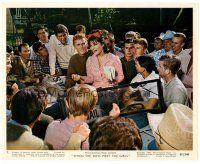 4h036 WHEN THE BOYS MEET THE GIRLS color 8x10 still '65 Connie Francis & Harve Presnell with mail!