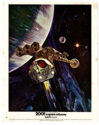 4h008 2001: A SPACE ODYSSEY color English FOH LC #16 '68 Kubrick, cool vertical art by Bob McCall!