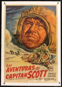 4w018 SCOTT OF THE ANTARCTIC linen Argentinean '50 different art of John Mills by Osvaldo Venturi!