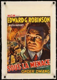 4w062 BLACKMAIL linen Belgian R40s cool different artwork of escaped convict Edward G. Robinson!