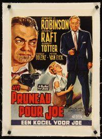 4w063 BULLET FOR JOEY linen Belgian '55 different Wik art of George Raft & Edward G. Robinson!