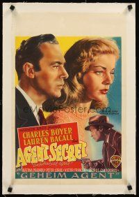 4w064 CONFIDENTIAL AGENT linen Belgian '45 different art of Charles Boyer & crying Lauren Bacall!