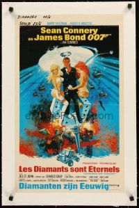 4w065 DIAMONDS ARE FOREVER linen Belgian '71 art of Sean Connery as James Bond by Robert McGinnis!