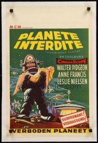4w067 FORBIDDEN PLANET linen Belgian '56 great artwork of Robby the Robot carrying Anne Francis!