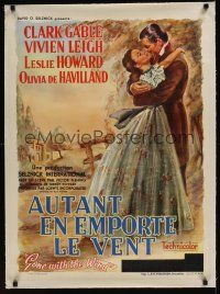 4w068 GONE WITH THE WIND linen Belgian R54 wonderful art of Clark Gable & Vivien Leigh embracing!