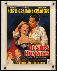 4w070 HUMAN DESIRE linen Belgian '54 best different art of sexy Gloria Grahame & Glenn Ford!