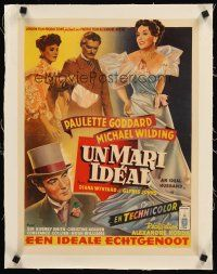 4w071 IDEAL HUSBAND linen Belgian '48 different art of pretty Paulette Goddard, Oscar Wilde