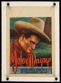 4w072 JOHN WAYNE linen Belgian '40s wonderful close artwork image of the legendary cowboy star!