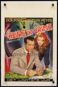 4w073 JOHNNY O'CLOCK linen Belgian '46 Dick Powell was too smart to tangle with sexy Evelyn Keyes!