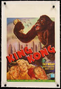4w074 KING KONG linen Belgian R60s art of Fay Wray, Robert Armstrong & giant ape crushing car!