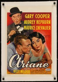 4w075 LOVE IN THE AFTERNOON linen Belgian '57 art of Gary Cooper, Audrey Hepburn, Maurice Chevalier