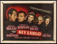 4w102 KEY LARGO linen British quad '48 Humphrey Bogart, Lauren Bacall, Robinson, cool different art!