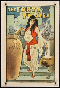 4w109 FORTY THIEVES linen stage play English double crown c1900-1910 cool art of female lead!