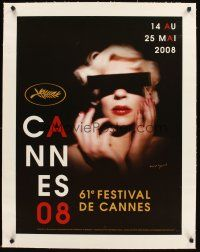 4w045 CANNES FILM FESTIVAL 2008 linen French 23x32 '08 cool image of woman with censored eyes!
