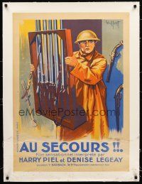 4w048 FACE A LA MORT linen French 23x32 '25 art of soldier Harry Piel carrying gun rack by Gaillant!