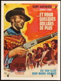 4w049 FOR A FEW DOLLARS MORE linen French 23x32 '67 Leone, different art of Eastwood by Tealdi!