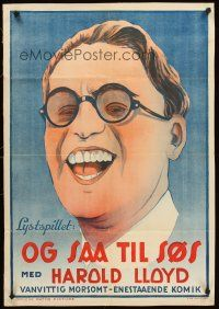 4w053 SAILOR-MADE MAN linen Danish 24x35 R30s art of laughing Harold Lloyd with trademark glasses!