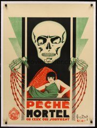 4w052 MORTAL SIN linen French 23x32 '17 cool art of Death-like skull looming over sexy Viola Dana!