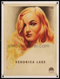 4w056 VERONICA LAKE linen French 23x32 '40s incredible art of the beautiful star by Roger Soubie!