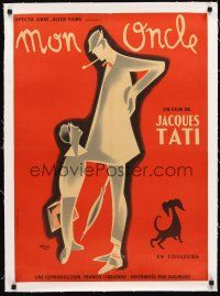 4w051 MON ONCLE linen French 23x32 '58 Jacques Tati as My Uncle, Mr. Hulot, great Etaix art!