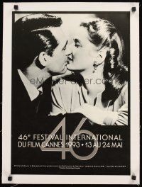 4w058 CANNES FILM FESTIVAL 1993 linen French 15x21 '93 Cary Grant & Ingrid Bergman from Notorious!