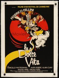 4w060 LA DOLCE VITA linen French 15x21 R70s Federico Fellini, cool different art by Rene Gruau!