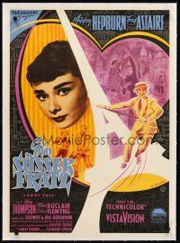 4w026 FUNNY FACE linen German '57 different art of Audrey Hepburn & Fred Astaire by R. Storck!