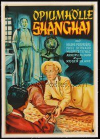 4w027 MYSTERE A SHANGHAI linen German '52 art of Englishwoman reaching for pipe in opium den!