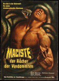 4w028 WITCH'S CURSE linen German '63 different Engel art of Morris as Maciste constricted by snake!