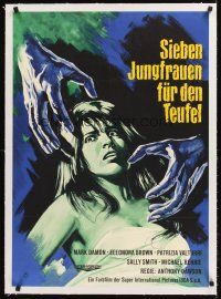 4w029 YOUNG, THE EVIL & THE SAVAGE linen German '68 sexy different horror art from Italian giallo!