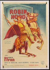 4w020 ADVENTURES OF ROBIN HOOD linen Italian 1sh '45 art of Flynn & De Havilland by Martinati!